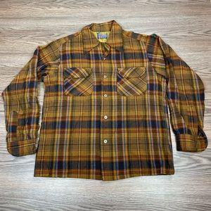 Pendleton Copper, Navy & Gold Plaid Wool Shirt M